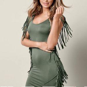 Olive Green Fringe Trim Dress ⭐️ NEW ⭐️